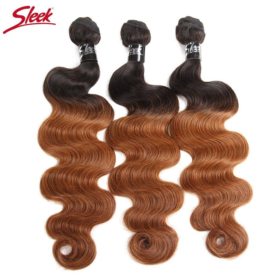 Sleek Hair Ombre Brazilian Hair Body Wave Bundles T1B/30 Remy Human Hair Weaving 10 To 30 Inches 3 Bundles Deal