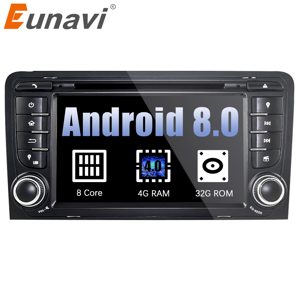 Eunavi 7 Octa 8 Core 4G RAM Android 8.0 Car DVD Radio Player for Audi A3/S3(2003-2013) stereo with TPMS/OBD2/4G/DAB+/GPS/WIFI ownice c500 4g sim lte octa 8 core android 6 0 for kia ceed 2013 2015 car dvd player gps navi radio wifi 4g bt 2gb ram 32g rom