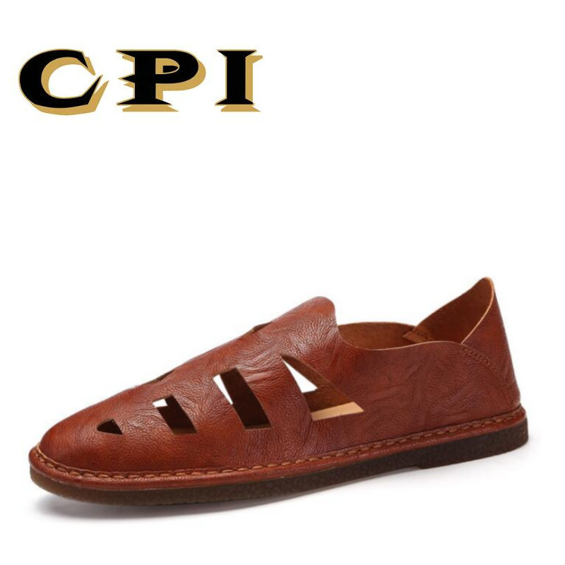 CPI 2018 New Men Fashion Leather Sandals Big Size 45 46 47 Casual Slip-on Summer Shoes Breathable Comfortable flat shoes VV-52 big size 46 summer breathable mesh loafers men casual shoes genuine leather slip on brand fashion flat shoes soft comfort cool