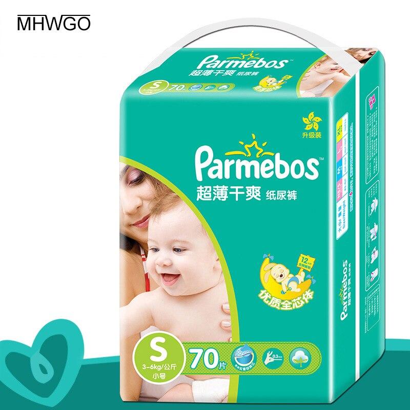 MHWGO Подгузники ткань пеленки Мани Подгузники для новорожденных детские пеленки большое кольцо талии ультра-тонкие дышащие пеленки S/ m/L/XL 4 Р...