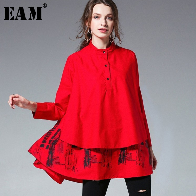 [EAM] 2019 New Autumn Winter  Solid Colour Printed Blouse Long Sleeve Spliced Stand Big Size Loose Woman Shirt S05600L