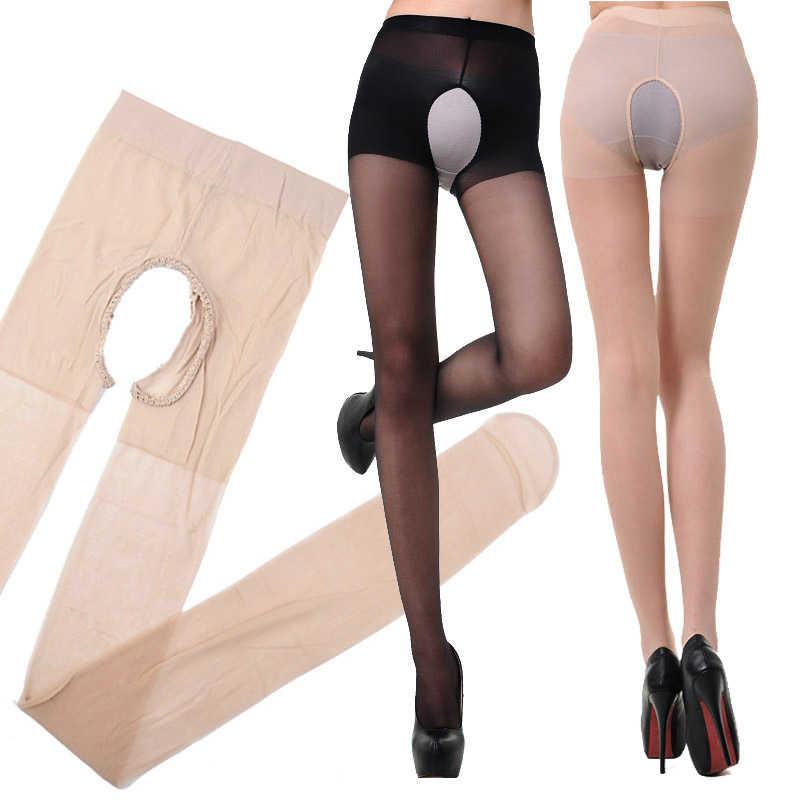 Moda 1 ADET Seksi Esneklik Açık Kasık Ipek Çorap Delikli Kadın Tigthts Külotlu Çorap