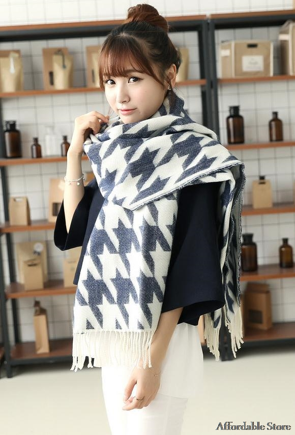 Autumn and winter models new Korean Houndstooth large plaid men and women scarves thick fringed collar neck warm