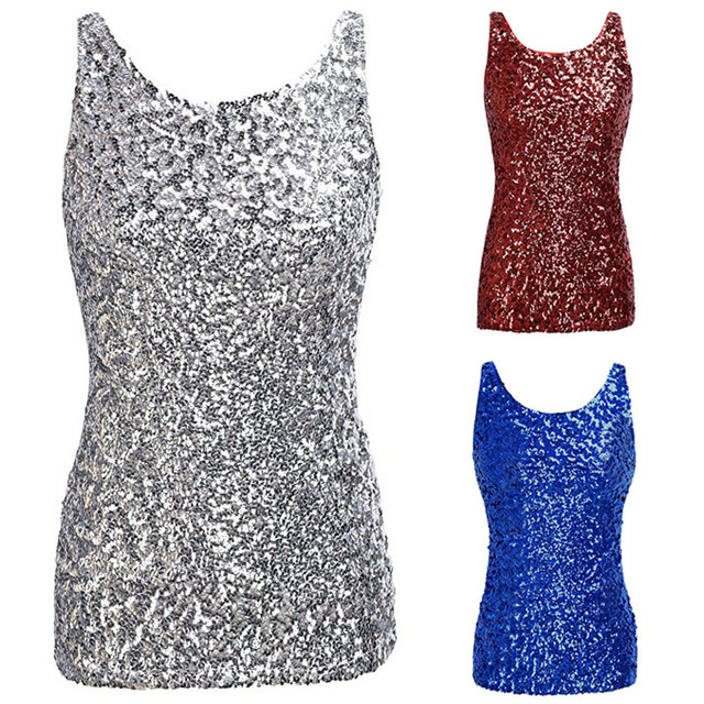 615dbfeac3d364 Women Summer Tank Tops Shimmer Glam Sequin Embellished Sparkle Play  camiseta tirantes mujer in Blue Red Silver sexy crop top