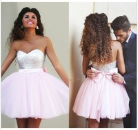 Elegant 2016 Homecoming Dresses A Line Sweetheart Short Mini Pink Tulle Squins Bow Cocktail Dresses