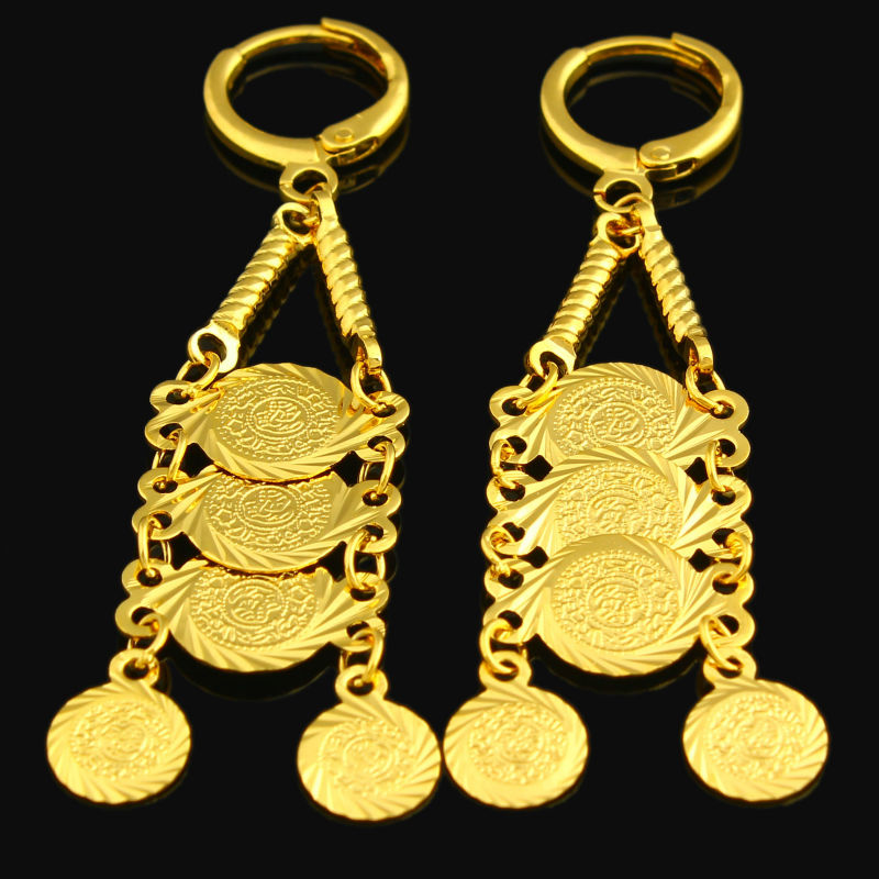Adixyn Whole Gold Coin Long Earring Color Drop Muslim Ic Jewelry Middle East Arabic Ethiopian Women S In Earrings From