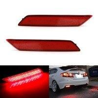 1 pair RED Lens LED Rear Bumper Reflector Light Lamp stop fog brake light For Honda 9th CIVIC 2014 2015 2016 Crider Acura