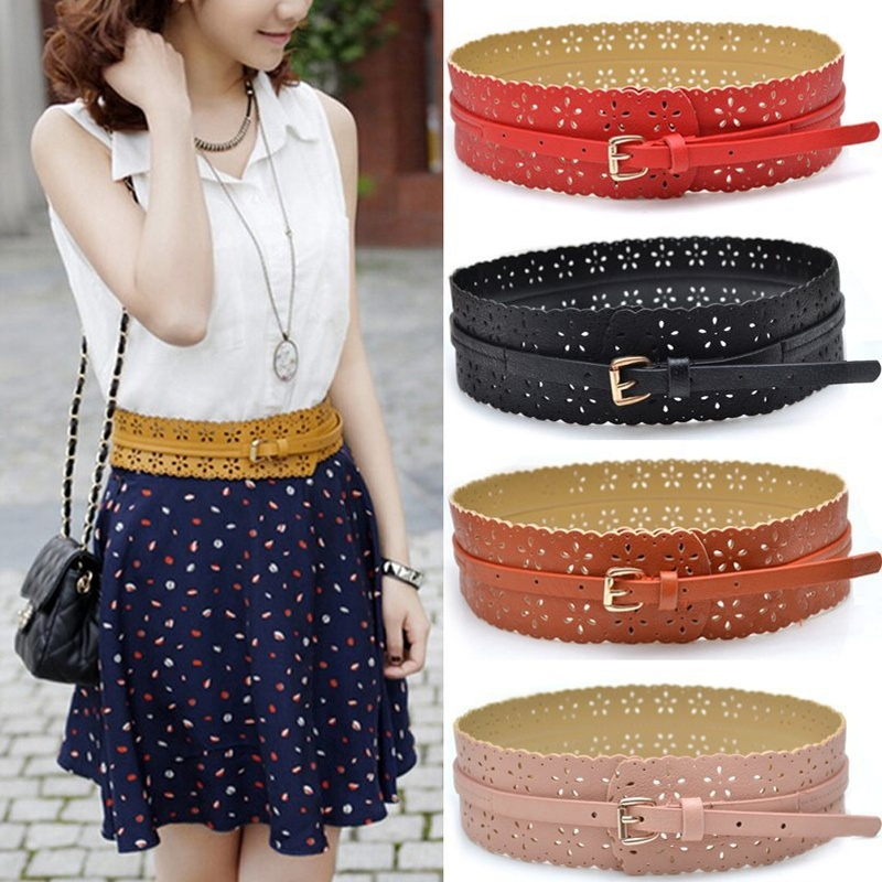 New Design Womens Belt Fashion PU Leather Lady Hollow Flower Wide Waistband Woman Belts For Dress Cinturon Mujer