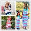 Мама и Я Соответствующие Платья 2016 Летом Мать и Дочь Девушки Соответствующие Наряды Червон Платье Семьи Сопоставления Одежда