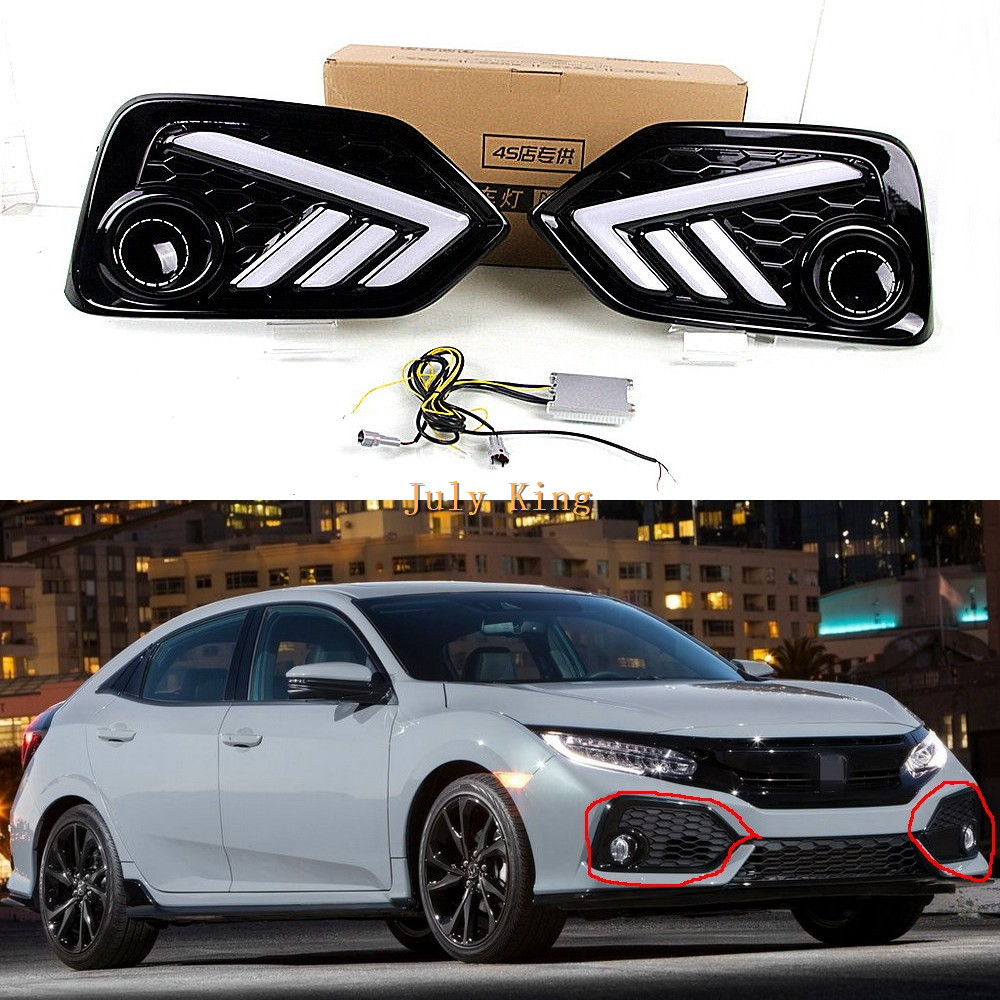 July King LED Daytime Running Lights Case For Honda Civic 10th Hatchback 2017-2019, LED Front Bumper DRL + Yellow Turn Signals