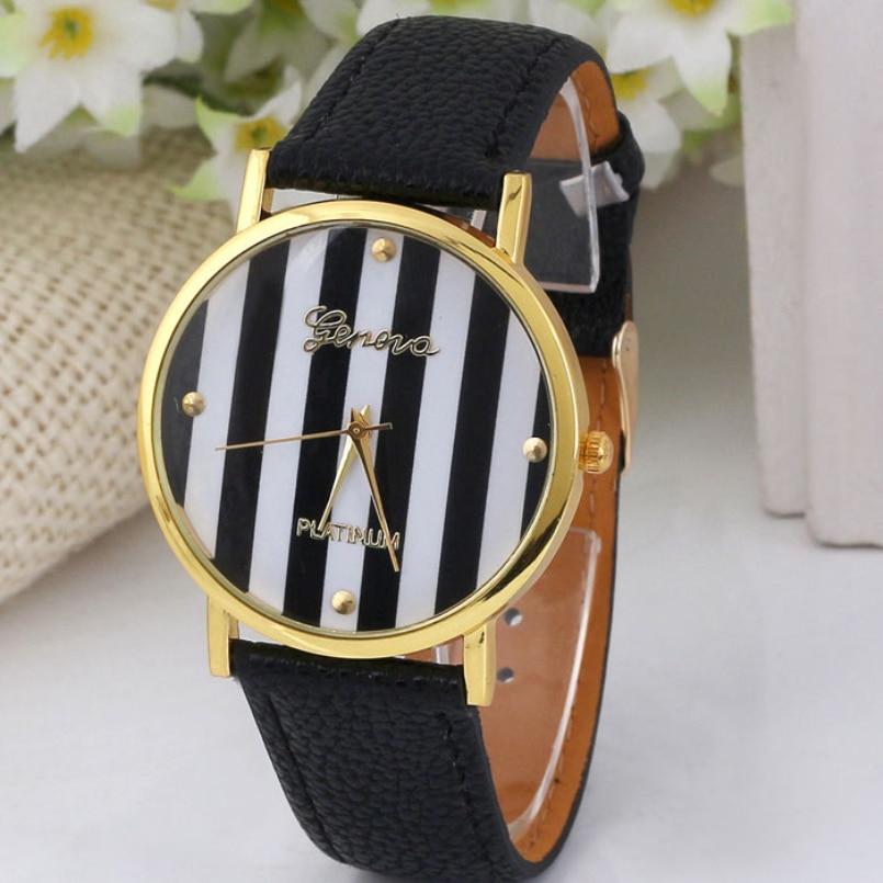 Excellent Quality Classic Geneva Quartz Watches Stripes Printing Leather Casual Womens Analog Quartz Wrist Watch 2016