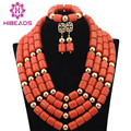 New Fashion Nigerian African Wedding Coral Beads Jewelry Set Chunky Statement Necklace Set Full Beads Free Shipping CNR345