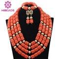 Nueva Moda Coral Perlas de la Boda Africana de Nigeria Joyería Conjunto CNR345 Beads Chunky Collar Llamativo Conjunto Completo Envío Libre