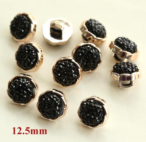 20 шт./лот пуговицы с шипами, черные стразы для шитья рубашек, пуговицы для одежды(SS-241
