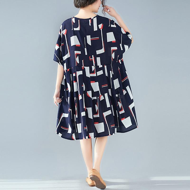 Oladivi Big Plus Size Women Summer 2019 Print Midi Dress Ladies Casual  Loose Cotton Linen Bohemian Dresses Beach Wear Vestidios