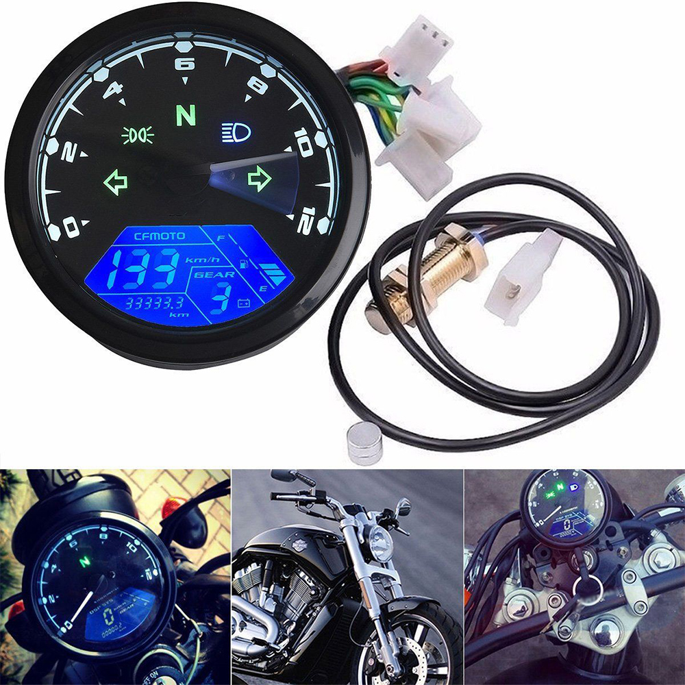 12000 Rpm Kph  Mph Lcd Universal Digital Motorcycle