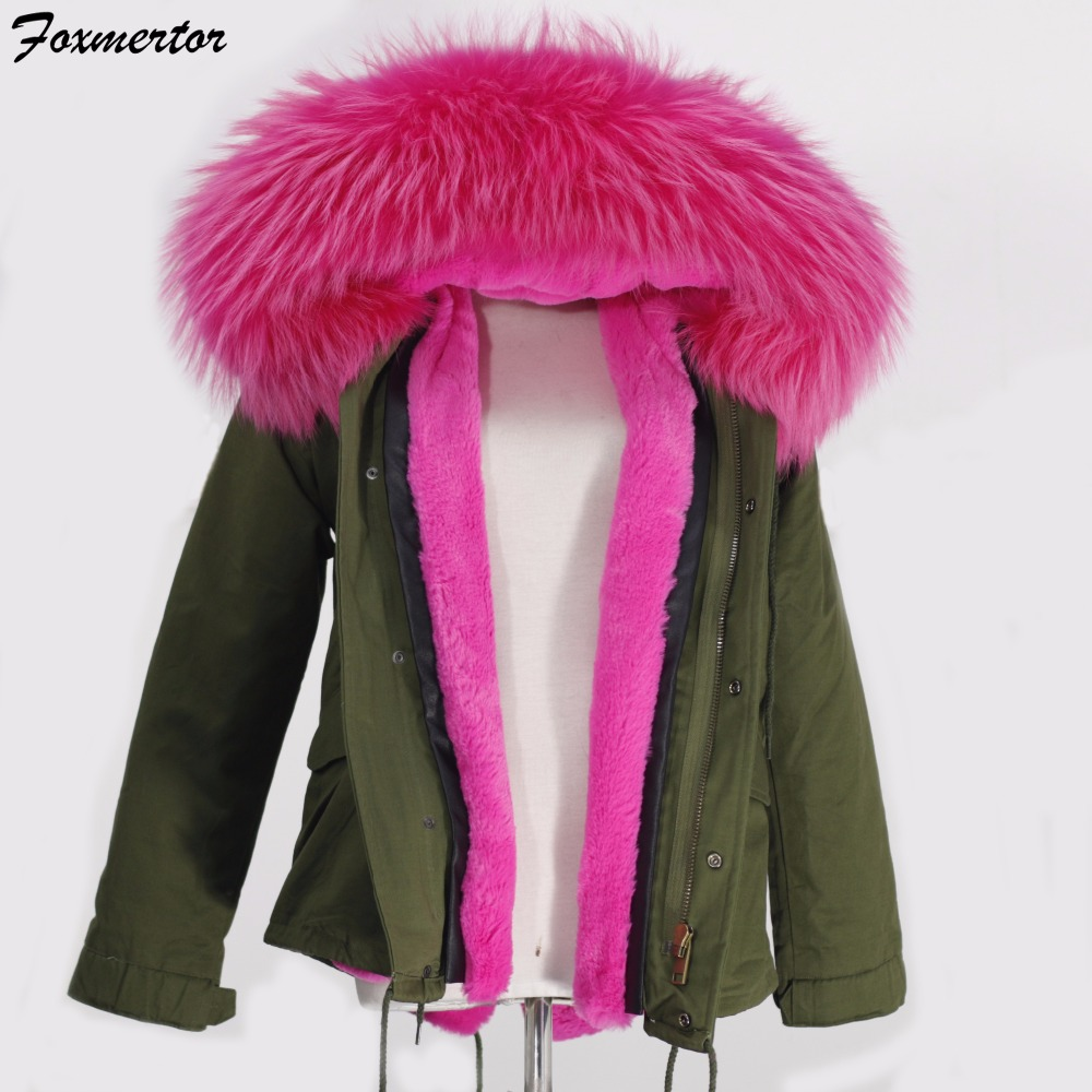Foxmertor New 2016 Women Winter Jacket Large Raccoon Real Fur Collar Coats Thick Ladies Army Green Parkas for Women Coats #F009