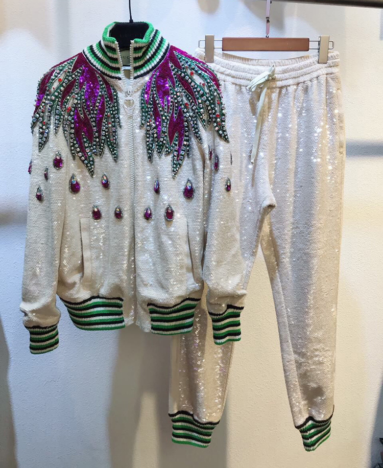 New Heavy duty color drill pearl sequins embroidery coloured striped collar baseball suit casual pants suit