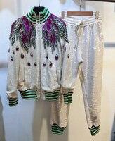 Новый сверхмощный Цвет сверла, жемчужные блестки вышивка, Цветной полосатый воротник, бейсбольный костюм, повседневные брюки костюм
