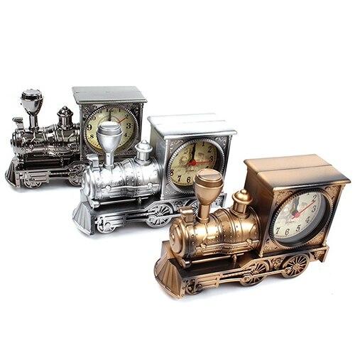 Мультфильм локомотива Будильник Античная двигателя Дизайн Таблица бюро Декор