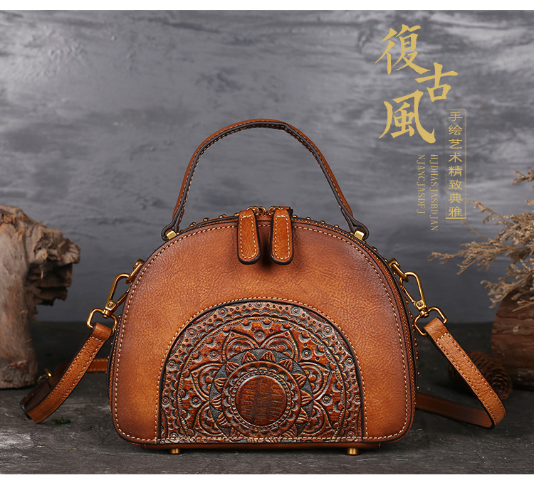 18 Luxury Women Genuine Leather Handbags Ladies Retro Elegant Shoulder Messenger Bag Cow Leather Handmade Womans Bags 1