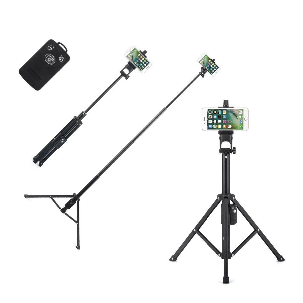 Christmas Gift Bluetooth Remote 3 in 1 Extendable Self portrait Monopod Video 54 Inch Selfie Tripod