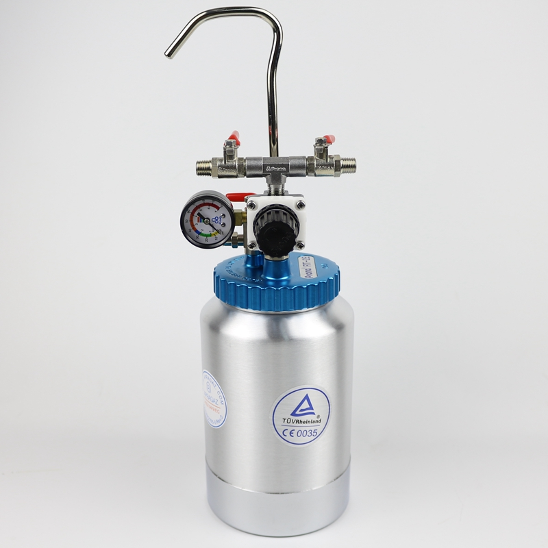 2L Pneumatic Pressure Tank Power Tool Accessories Spray Paint 2000ML Spray Gun Paint Tank RT-2E with Pressure Gauge Aluminum