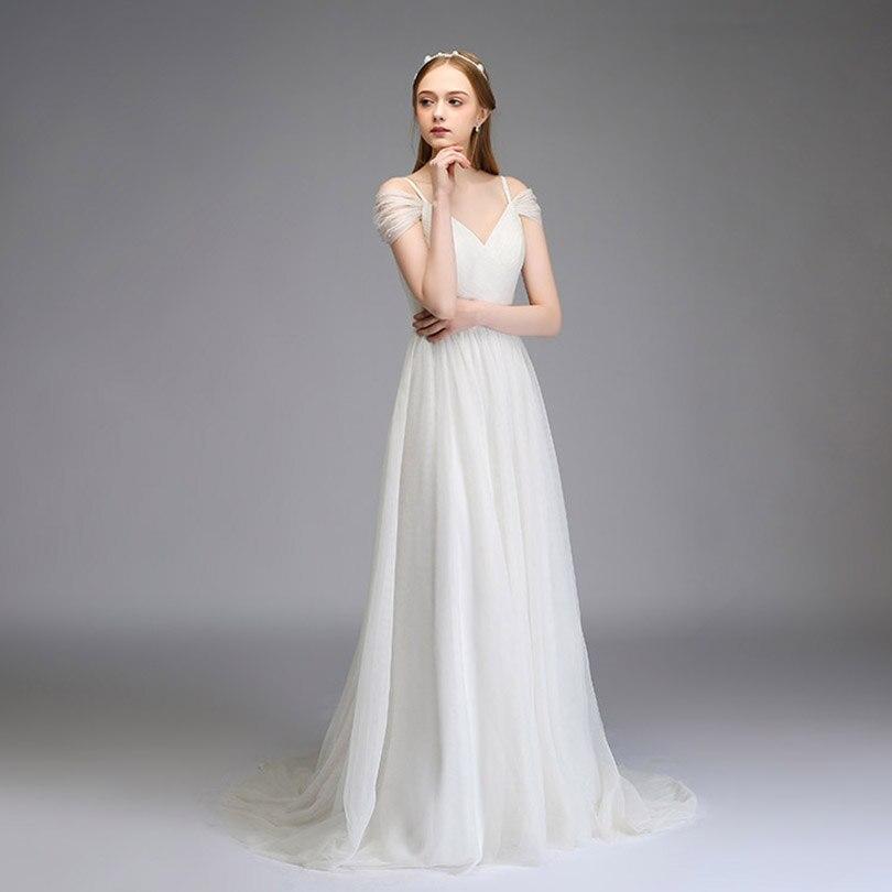 2018 Elegant Spaghetti Tulle Bridesmaid Dresses Off the Shoulder Long Wedding Party Dress 2