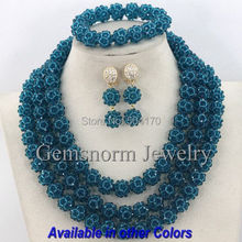 Handmade 3 Steps African Fashion Beads Jewelry Set Indian Bridal Jewelry Set Peacock Blue Free Shipping GS209