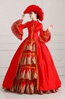 ГОРЯЧАЯ Европейский Aristocrazy Суд Платье Красная Королева Хэллоуин Косплей Костюм Бальное платье Женщины Составляют Партия Длинное Платье