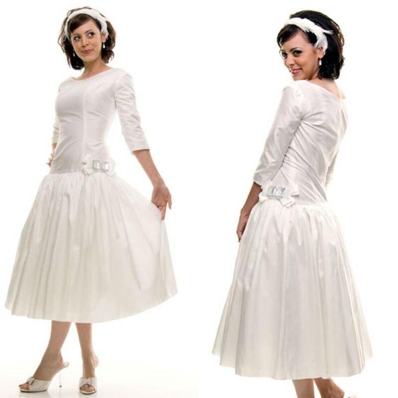 Delicate middle sleeves handmade flower satin white fall for Winter tea length wedding dresses