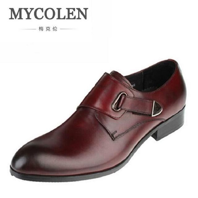 1285dbef8 MYCOLEN Breathable Flats Buckle Strap Wedding Party Genuine Leather Men  Pointed Toe Dress Shoes Autumn Classic