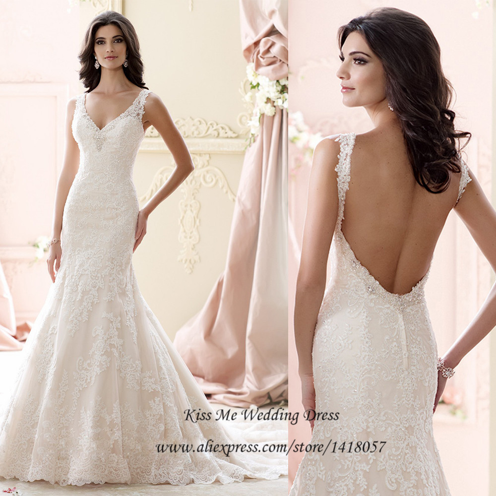 Brand Designer Lace Backless Wedding Dresses 2015 Sexy Mermaid