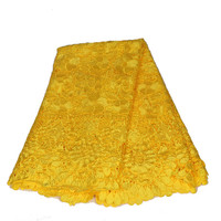 HFX High Quality Yellow Lace Cotton Nigeria Dress Fabric Guipure Cord Lace Fabric For African Sewing Dress C18 2