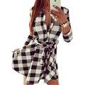 Women Check Tartan Plaid Mini Bandage Dress 3/4 Sleeve Jumper Shirt Dresses Tops LS5