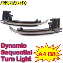 AIDUAUTO Dynamic Blinker Mirror Light FOR Audi A3 8P A4 A5 B8 Q3 A6 C6 4F S6 LED Turn Signal Side Indicator SQ3 A8 D3 8K 2pcs set carbon fiber replacement side wing rear view rearview mirror cover w o side lane assist for audi a8 a3 q3 a4 b8 a5 a6