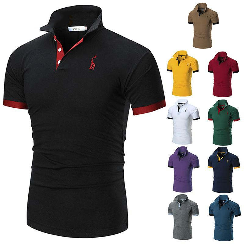 2019 Mens   Polo   Shirt Brands Male Short Sleeve Casual Slim Solid Color Deer Embroidery   Polo   Shirt RS-431