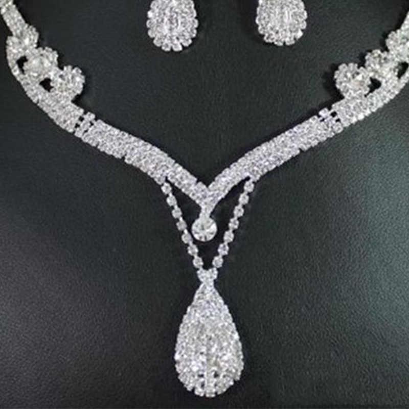אופנה קובע כסף טיפת מים קריסטל ריינסטון כלה שרשרת עגילי סט נשים לנשף חתונה אביזרי VL