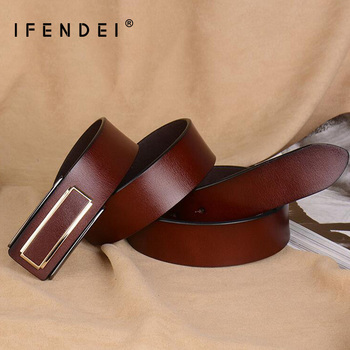 цена IFENDEI Fashion Split Leather Belt Men 's Plate Buckle Cowhide Business Casual Belt Coffee Black Strap Free Shipping Wholesale онлайн в 2017 году