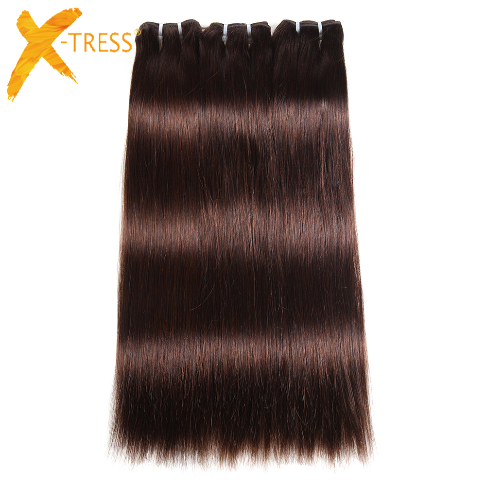 X-TRESS Brazilian Yaki Straight Hair Bundles Dark Brown 2# 100% Human Hair Extensions Remy Hair Weft 3bundles 8-22 Free Ship