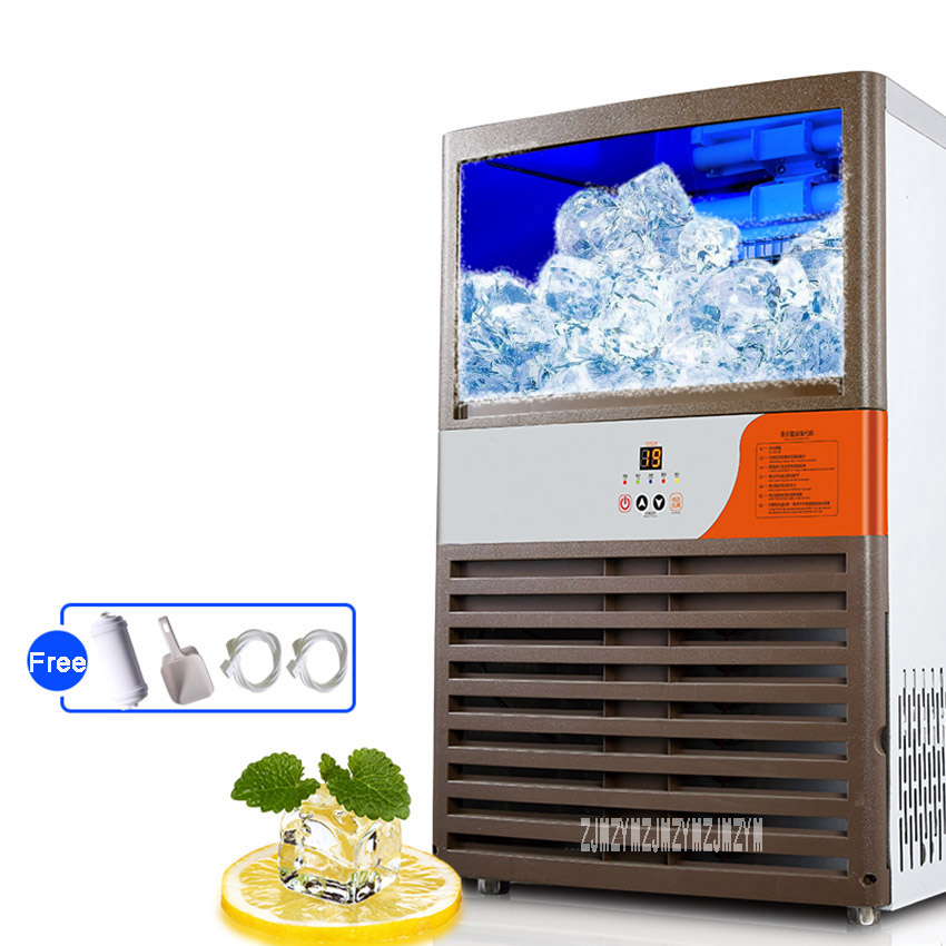 NX-90 Ice Machine Commercial Square Ice Machine 520W Large Efficiency Full Automatic Tea Shop KTV Ice Machine High Production