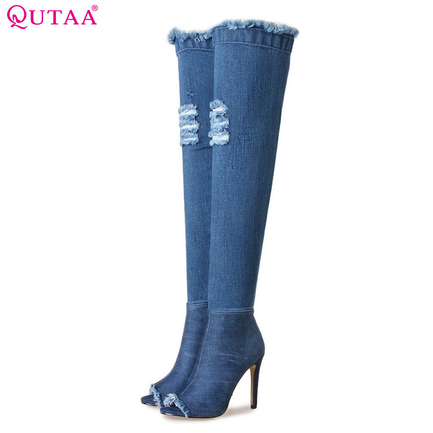 QUTAA 2018 Women Over The Knee High Boots Denim Fashion Short or Long Boots Pointed Toe Thin High Heel Women  Boots Size  34-39 qutaa 2017 women over the knee high boots all match pointed toe high quality thin high heel pointed toe women boots size 34 43