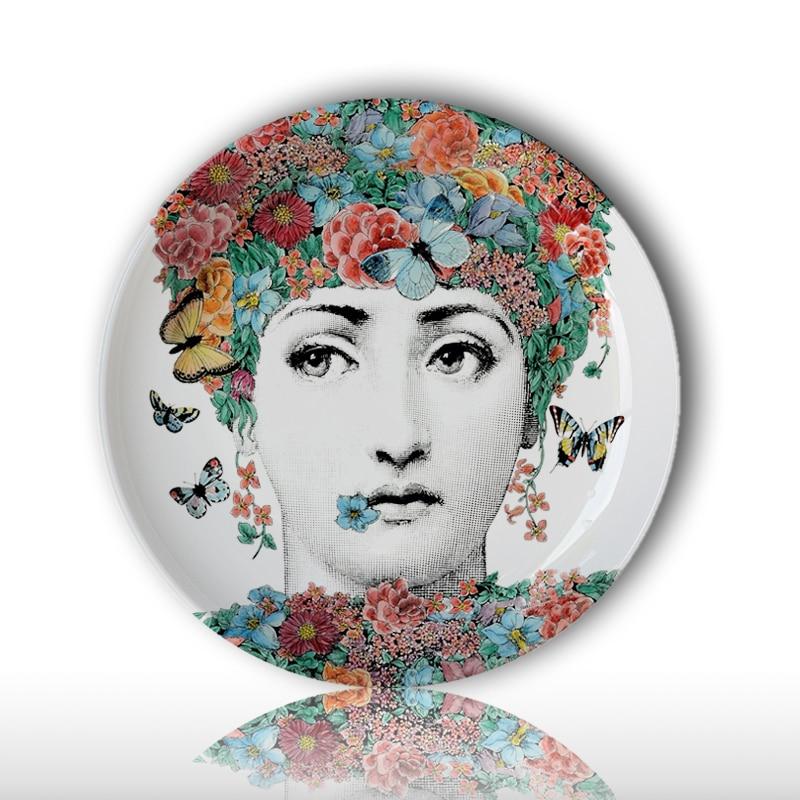 Fashion Style Italy Designer Female Skull Decorative Hanging Plates Lina Cavalieri Face Pattern Dish Ceramic Beauty Craft Decor