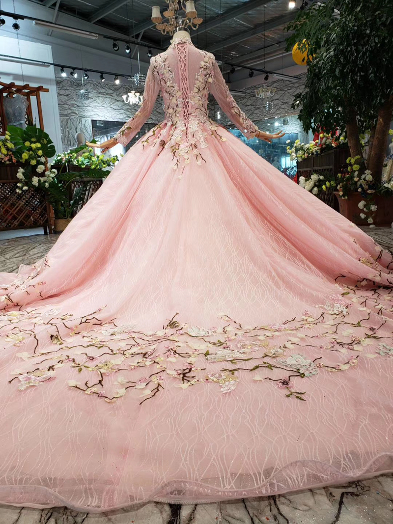 LS169901 2 pink flowers evening dresses high neck long tulle sleeves lace up back muslim girls pageant party dresses custom size in Evening Dresses from Weddings Events