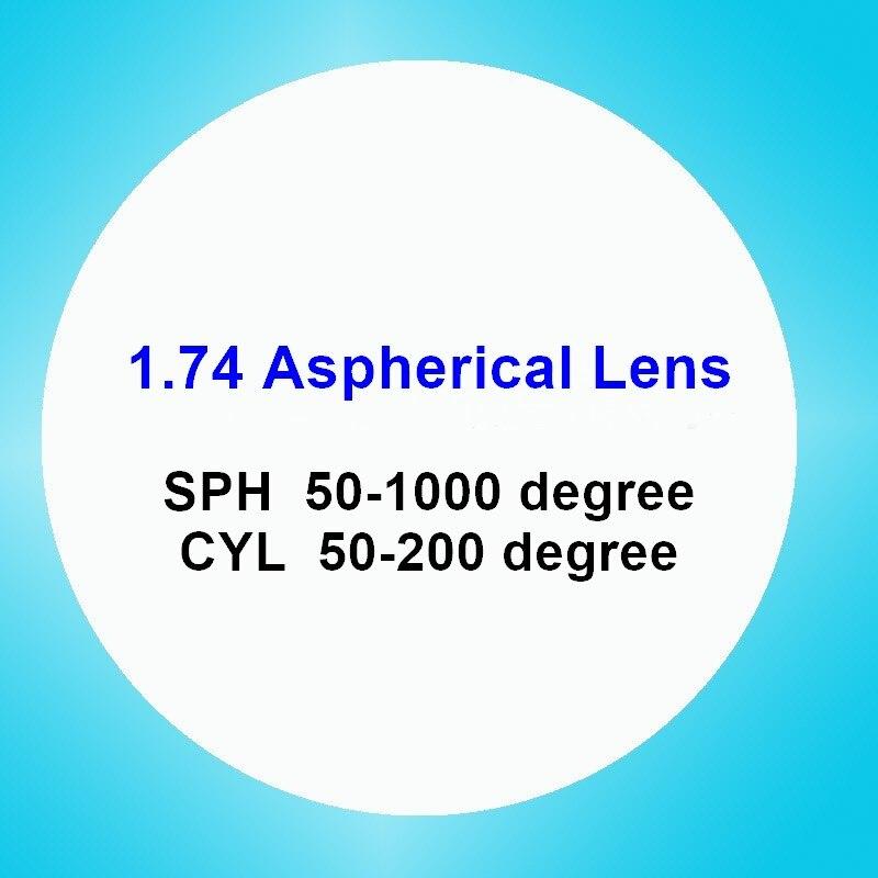 Verres de prescription asphériques 1.74 lentilles myopie hyperopie presbytie optique CR-39 lentille en résine