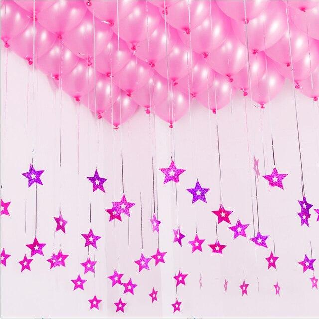 Balloon Decoration Part - 22: 5pcs/lot Stars Laser Card Love Balloons Ribbon Pendant Wedding Marriage Balloon  Decoration Party Favors
