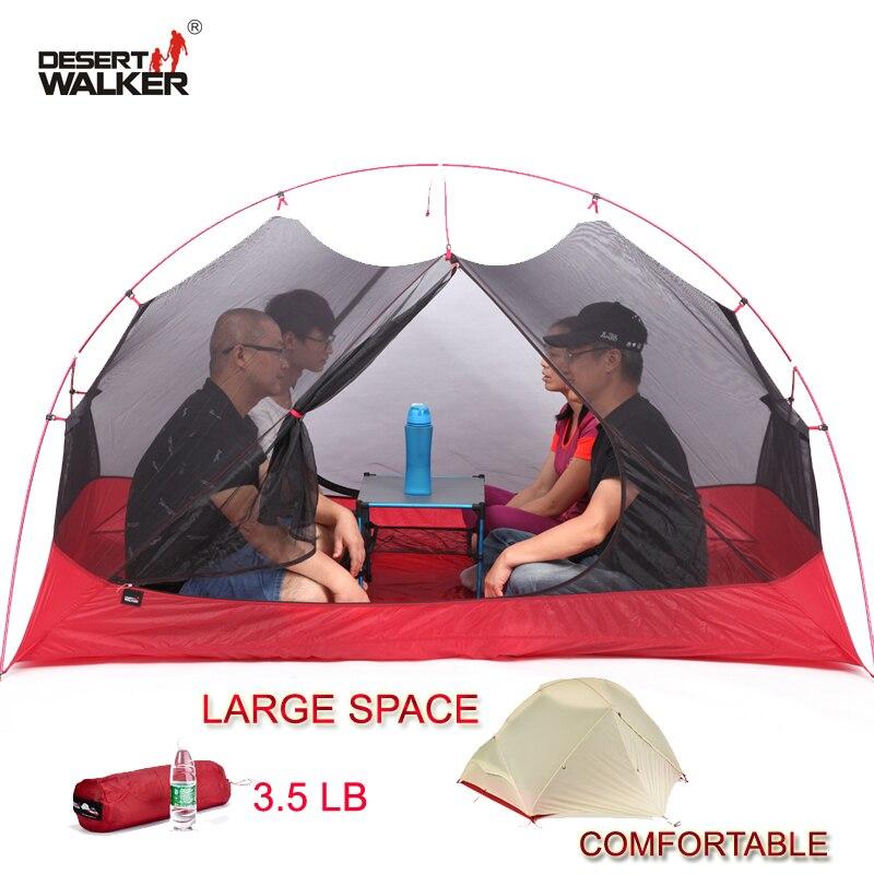 3.5LB 4 personnes ultra-léger 15D Nylon plage tente 213*134*120 CM grand espace famille Camping tente confortable 4 saisons tente extérieure