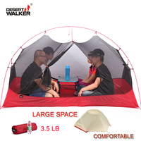 3.5LB 4 Person Ultralight 15D Nylon Beach Tent 213*134*120CM Large Space Family Camping Tent Comfortable 4 Seasons Outdoor Tent