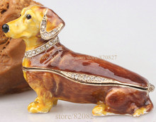Dachshund Dog Jeweled Crystal Jewelry Trinket BoxPuppy Collectible Hinged Box r Figurine