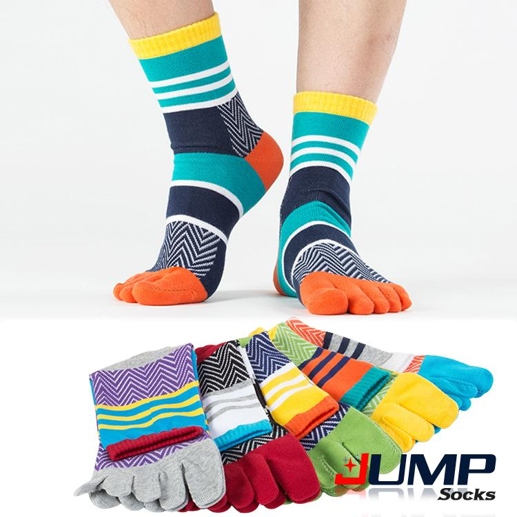 Free Size 1 pair free shipping Mens Summer Cotton Calcetines Striped Contrast Colorful mens socks Five Finger Socks